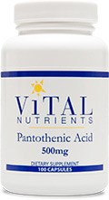 Pantothenic Acid 500mg / 100 caps - Product Image